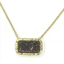 Gemolithos-druzy-braun-Stone-&-Gold-Plated-Silver-Pendant-Rectangle
