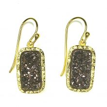 Gemolithos-druzy-braun-stone-&-gold-plated-silver-earrings-rectangle