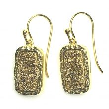 Gemolithos-druzy-gold-plated-stone-&-gold-plated-silver-earrings-rectangle